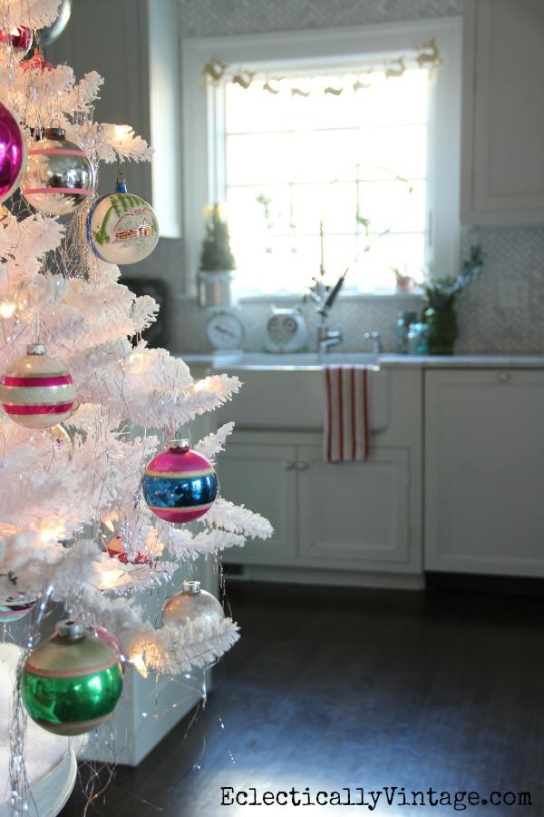 Vintage white flocked Christmas tree and kitchen tour kellyelko.com