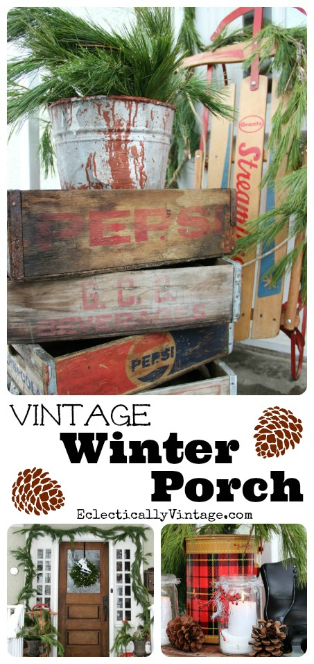 Winter Porch Decorating Ideas - love these stacked soda crates kellyelko.com