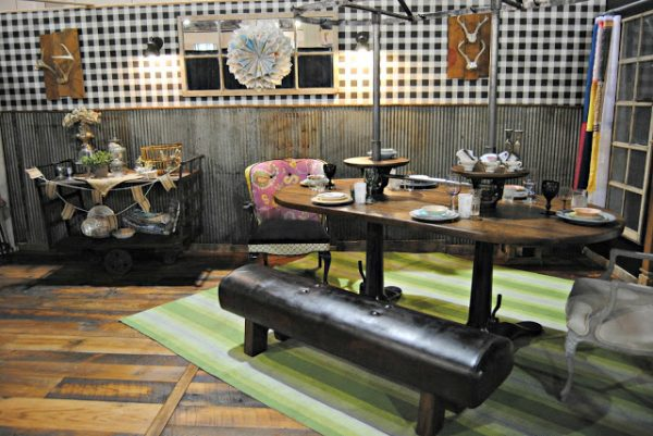 Upcycled Dining Room at the Philadelphia Home Show - love the pommel horse bench!
