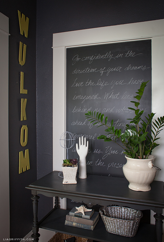 Love this chalkboard entry wall