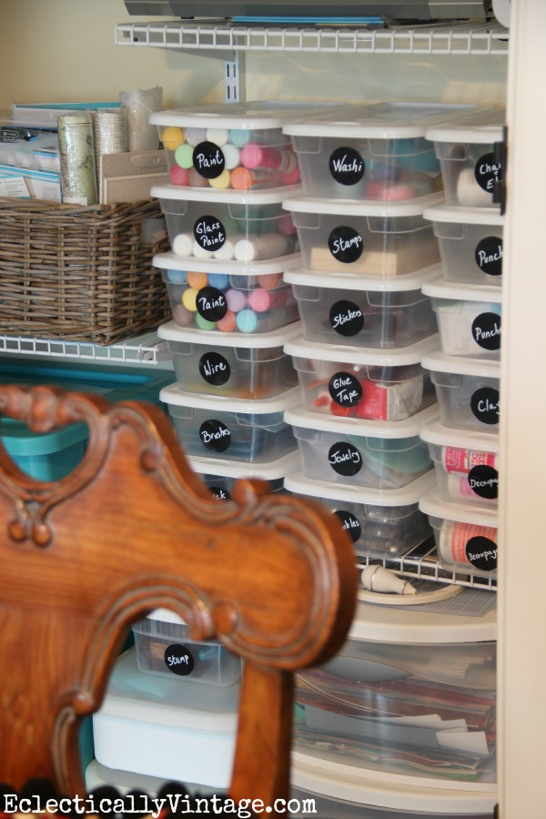 Craft Supply Closet - great organization ideas eclecticallyvintage.com