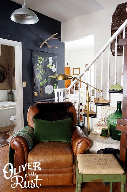 Love the dark walls in this home tour