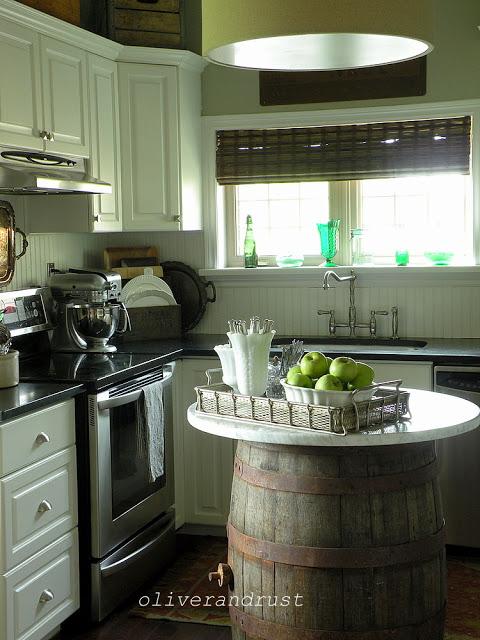 LOVE this fun wine barrel kitchen island!