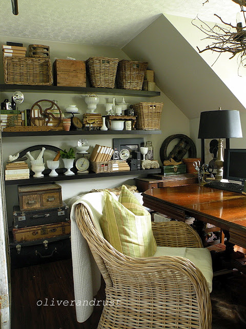 Vintage lovers home office - love the mix of baskets