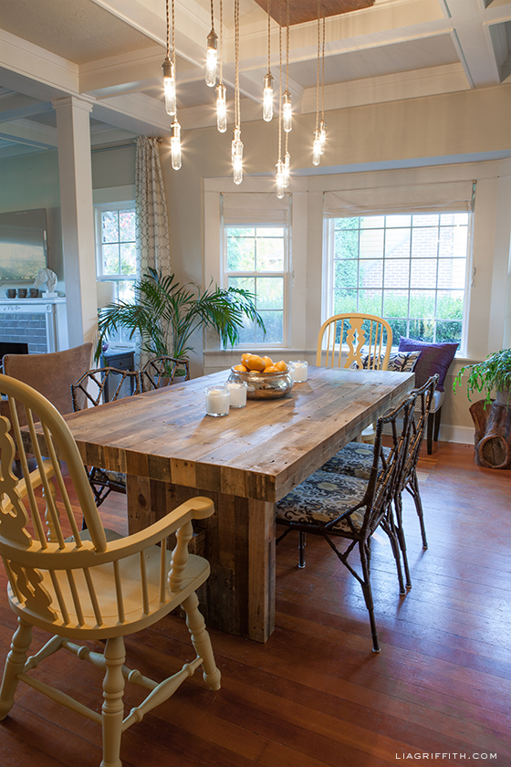 Eclectic dining room - love the mismatched furniture
