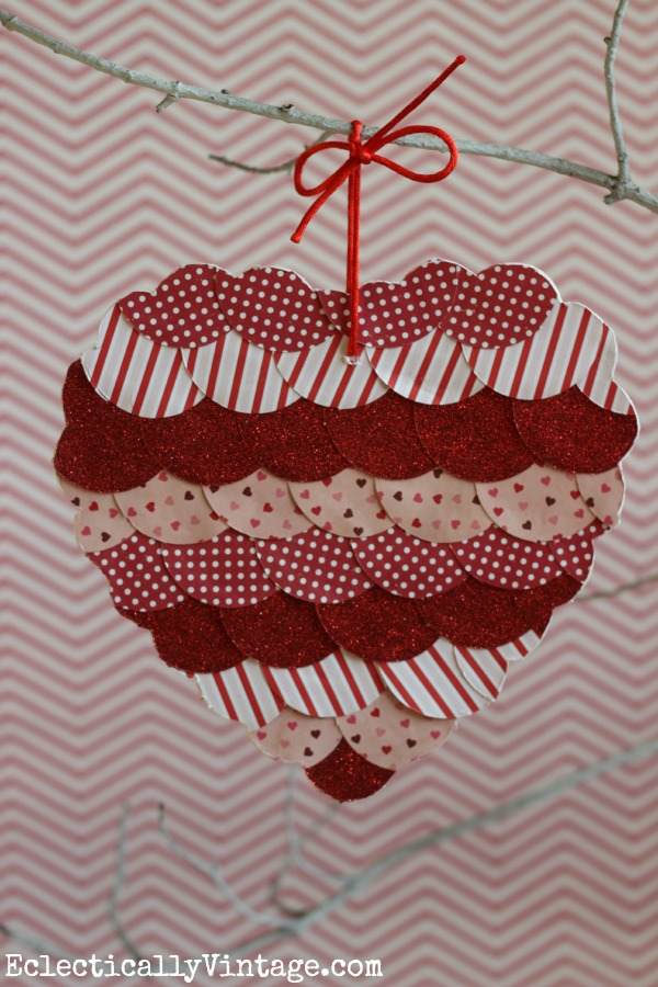 Fun Valentine craft - make a fish scale heart! eclecticallyvintage.com