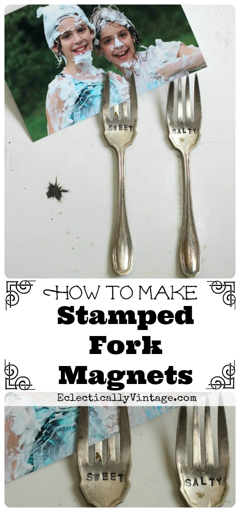 How to Make Magnetic Stamped Forks - perfect photo display for the fridge! kellyelko.com
