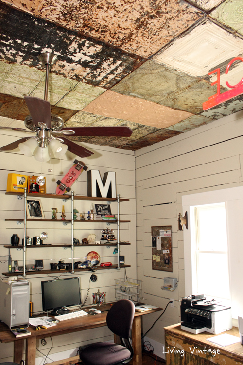 Very cool old ceiling tiles in this vintage home office