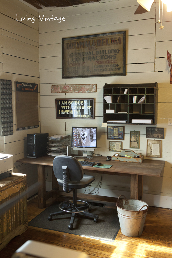 Vintage office - love the old signs