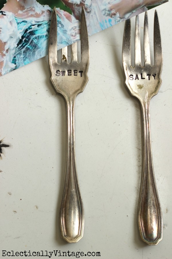 Stamped Silver Forks - see how to make these cute magnets! kellyelko.com