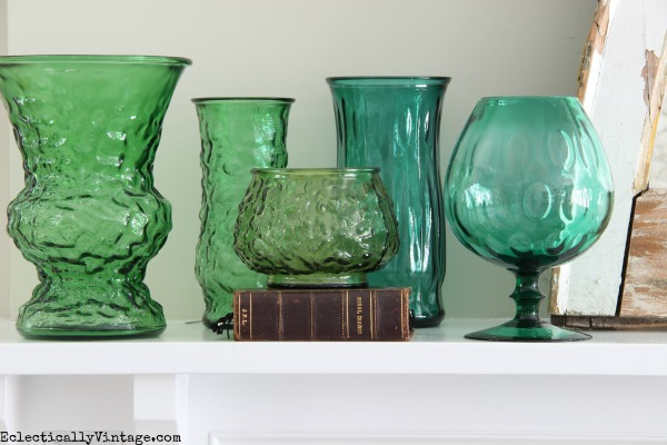 Vintage green glass eclecticallyvintage.com