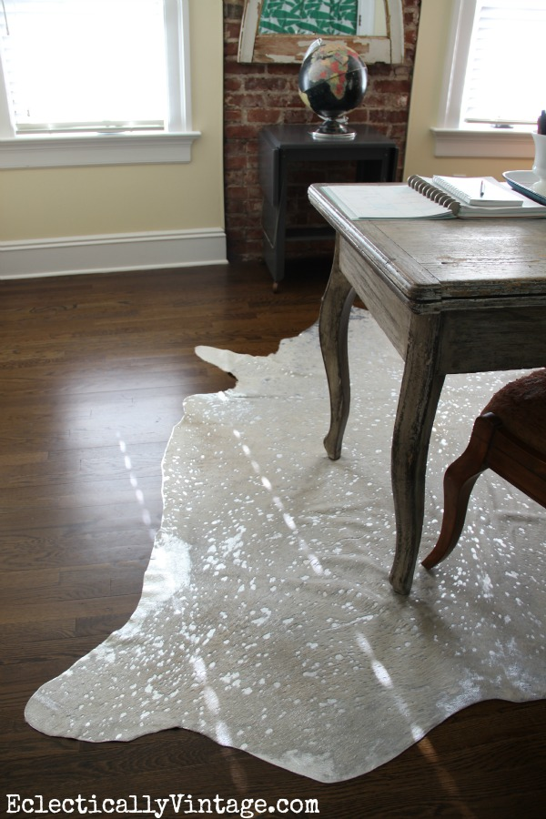 Office Makeover - love the Devour Cowhide Rug kellyelko.com