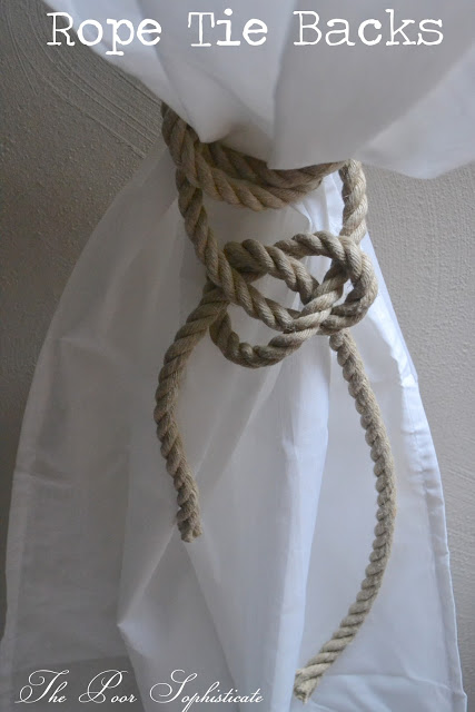 Simple rope curtain tiebacks