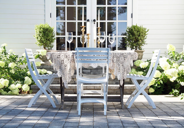 Romantic patio - love the hydrangeas eclecticallyvintage.com