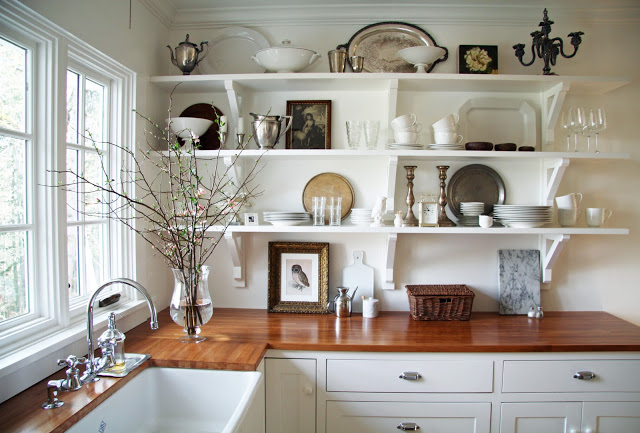 Beautiful country kitchen with open shelves kellyelko.com