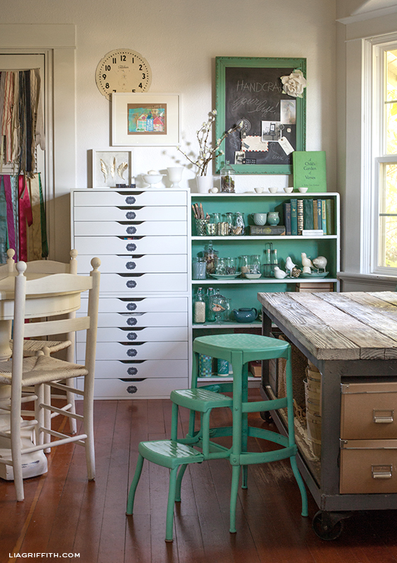 Creative craft studio - love the vintage touches and that huge table!