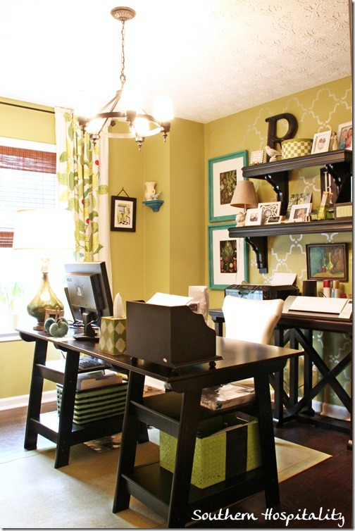 Love this home office and the open shelves