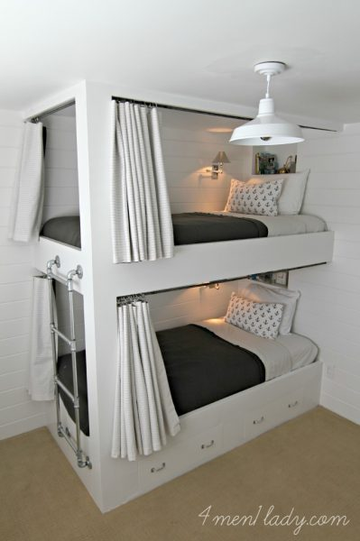 These are the coolest bunk beds - love the recessed shelves and lighting