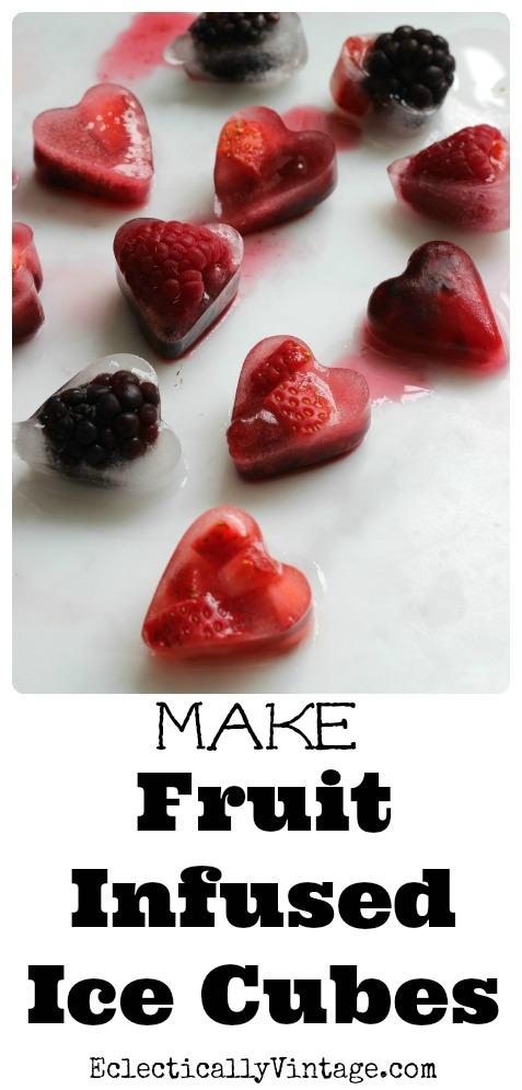 Make Valentine Fruit Infused Ice Cubes kellyelko.com