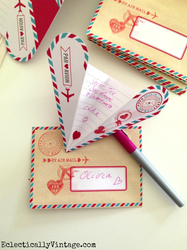Airmail Valentine - looks like a little paper airplane! #12monthsofmartha  kellyelko.com