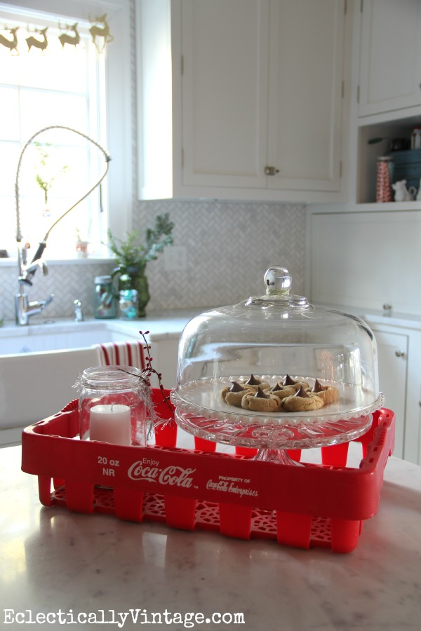 Vintage Coke crate is one of many vintage finds in this gorgeous kitchen kellyelko.com