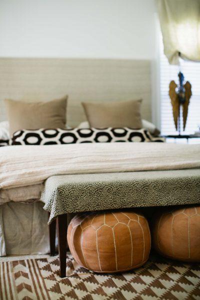 Beautiful bedroom - love the ottomans kellyelko.com