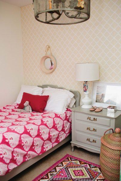 Such a cute girls room - love the chandelier! kellyelko.com