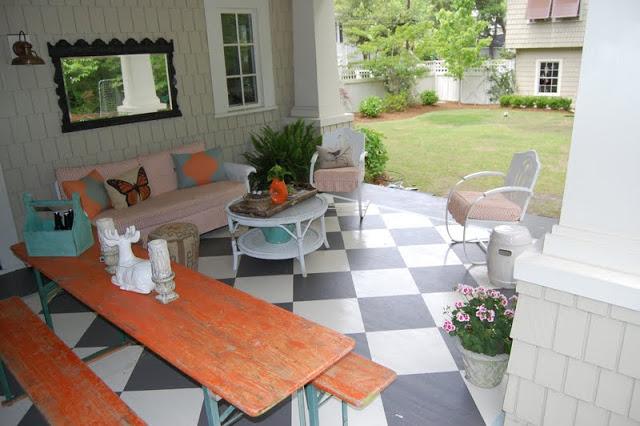 Eclectic patio - love the painted floor kellyelko.com