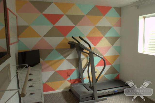 Paint a geometric wall - what a fun focal point kellyelko.com