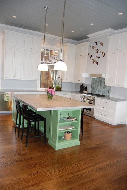 Amazing kitchen - love the green island kellyelko.com