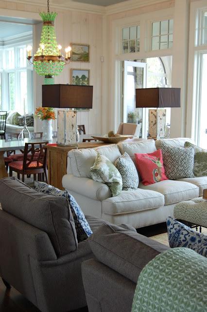 Luxurious great room - love that statement chandelier! kellyelko.com