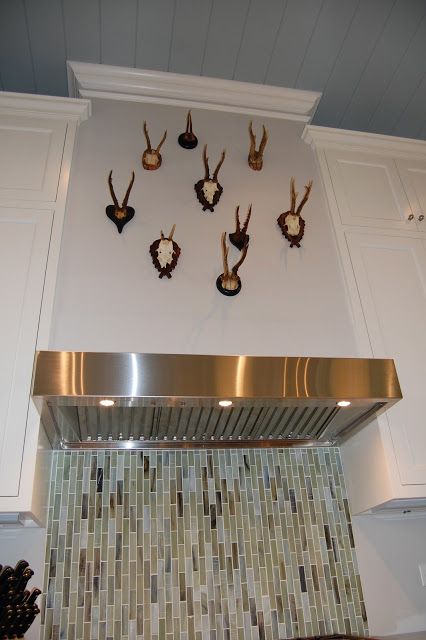 What a fun way to display a vintage antler collection! kellyelko.com