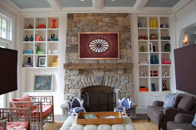 Stone fireplace is stunning in this mountain home kellyelko.com