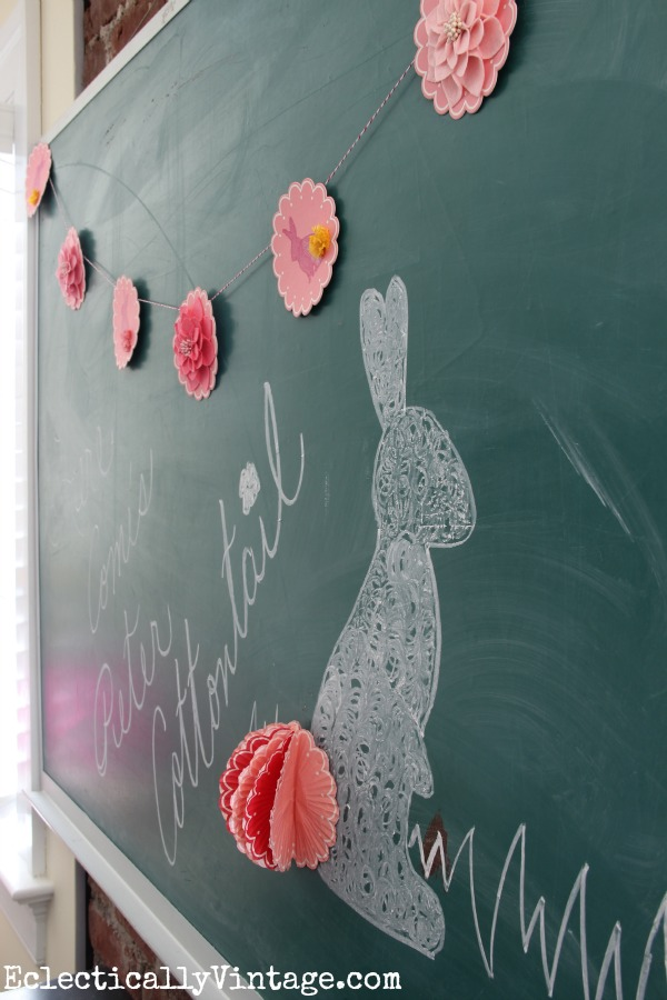 How cute is this spring banner and chalkboard! eclecticallyvintage.com