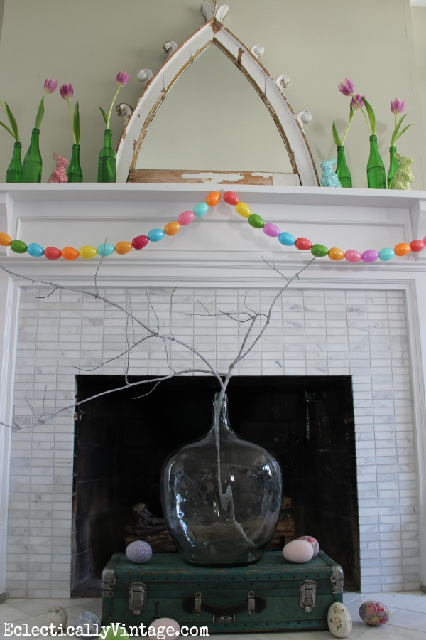 This spring mantel is stunning!  Love the fresh colors kellyelko.com