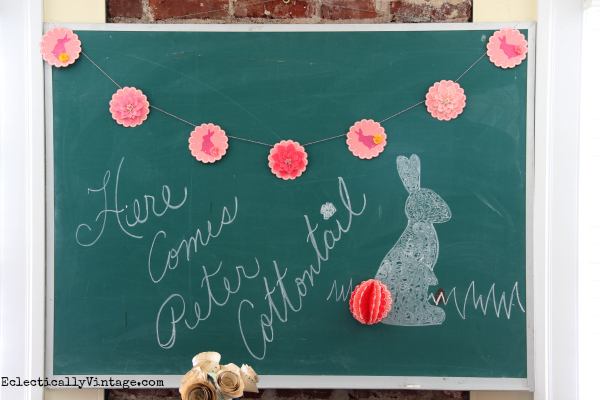 Make this adorable spring banner - love the 3d bunny tails! eclecticallyvintage.com