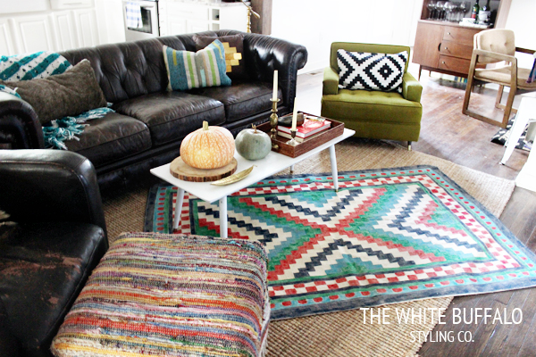 Eclectic Home Tour - love this eclectic family room and the mix of patterns kellyelko.com