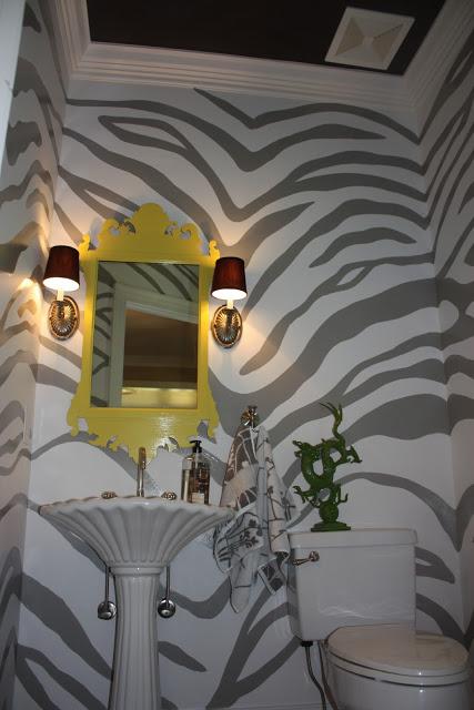Hand painted zebra walls - perfect for a powder room kellyelko.com