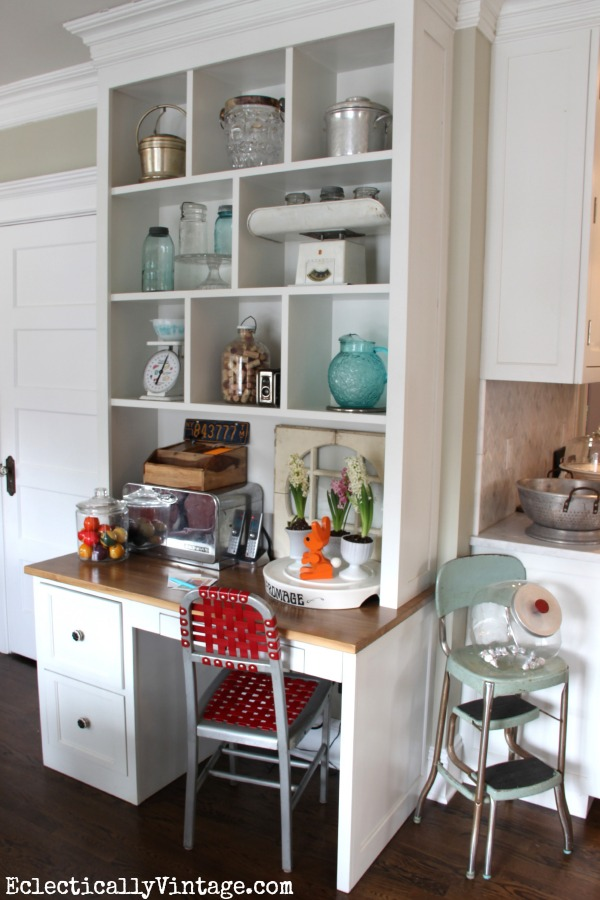 Open Kitchen Shelving - love the look of these cubbies!  This site also has the best collections! eclecticallyvintage.com
