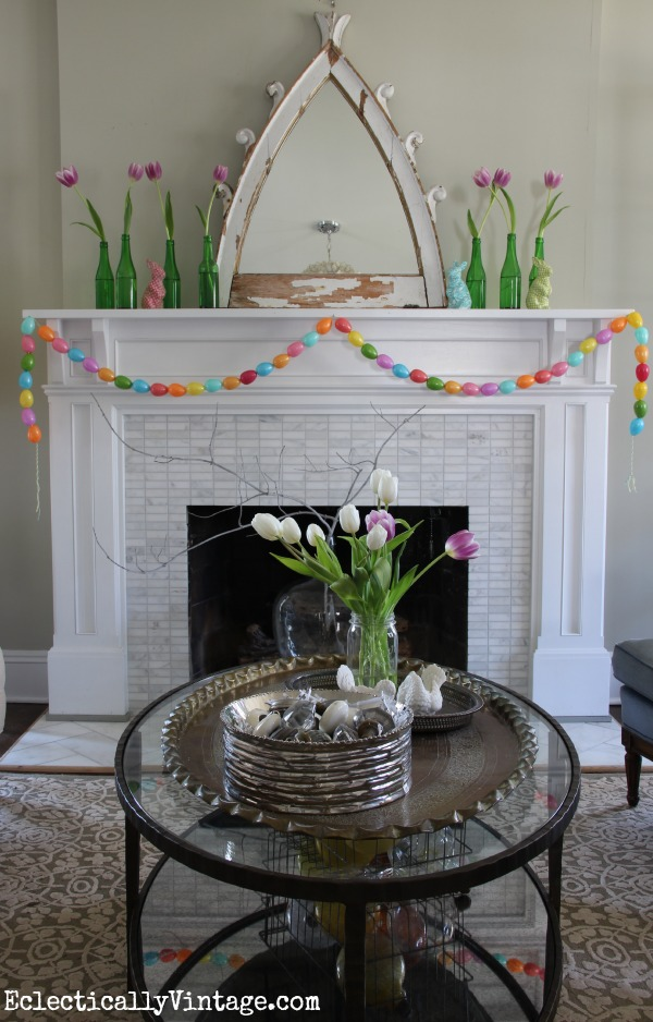 Love this spring mantel - and that cute egg garland she made! eclecticallyvintage.com