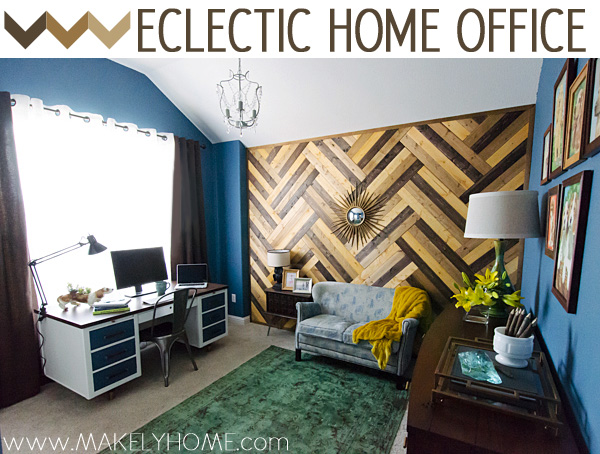 Love this eclectic home office - so many great DIY ideas! kellyelko.com