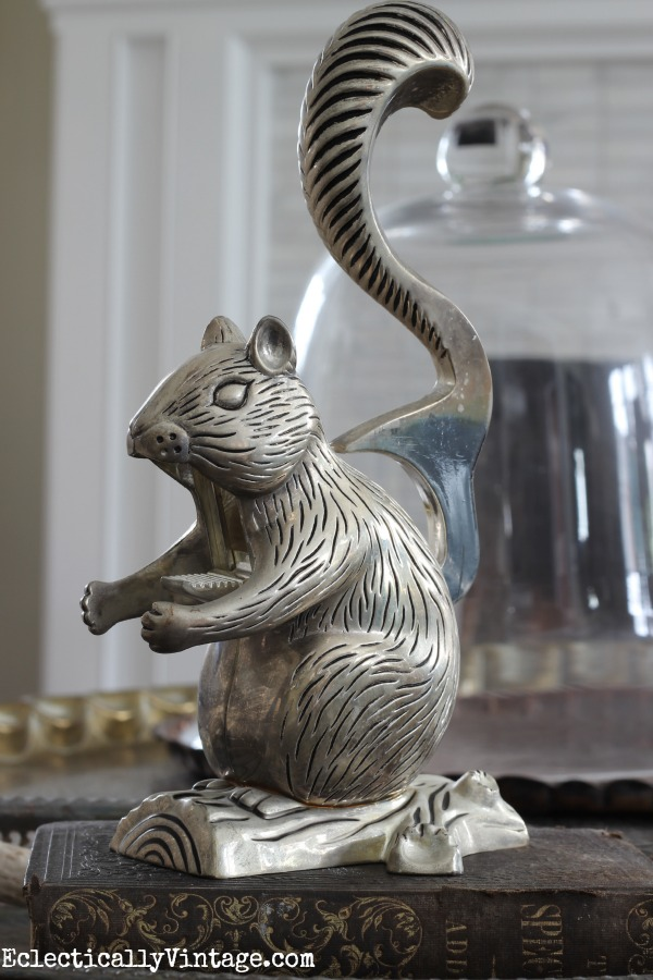 How cute is this vintage squirrel nutcracker!  One of the many thrift shop finds at kellyelko.com