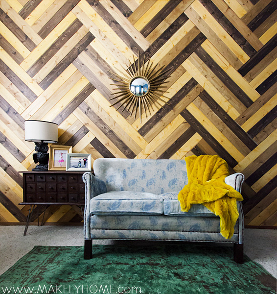 Eclectic Home Tour of Makely School for Girls - love this wood chevron wall! kellyelko.com