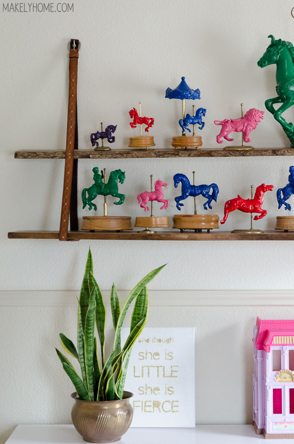 Unique handmade shelves - love the fun carousel collection eclecticallyvintage.com
