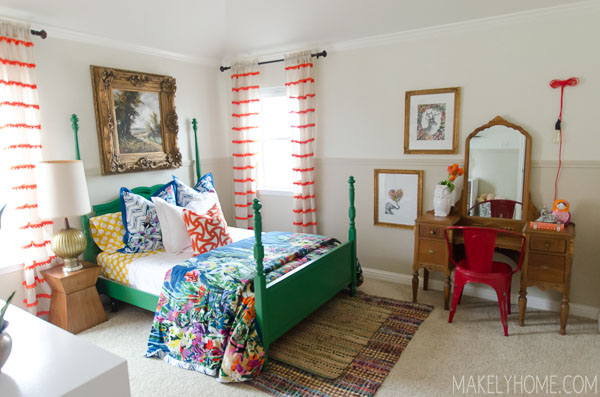 Love this colorful bedroom - so many great DIY ideas kellyelko.com