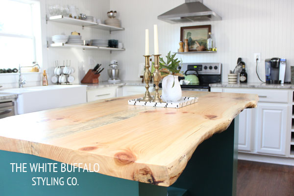 Eclectic Home Tour of The White Buffalo Styling Co - live edge wood countertops eclecticallyvintage.com