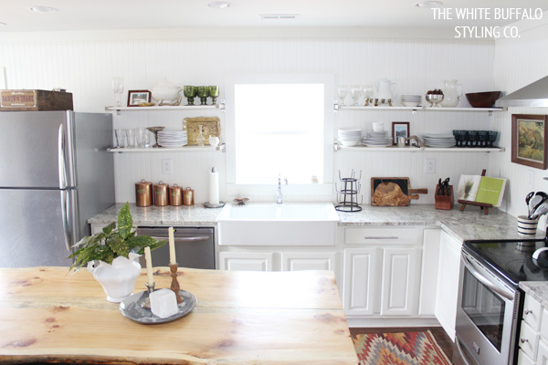 Eclectic Home Tour - love the open kitchen shelves kellyelko.com