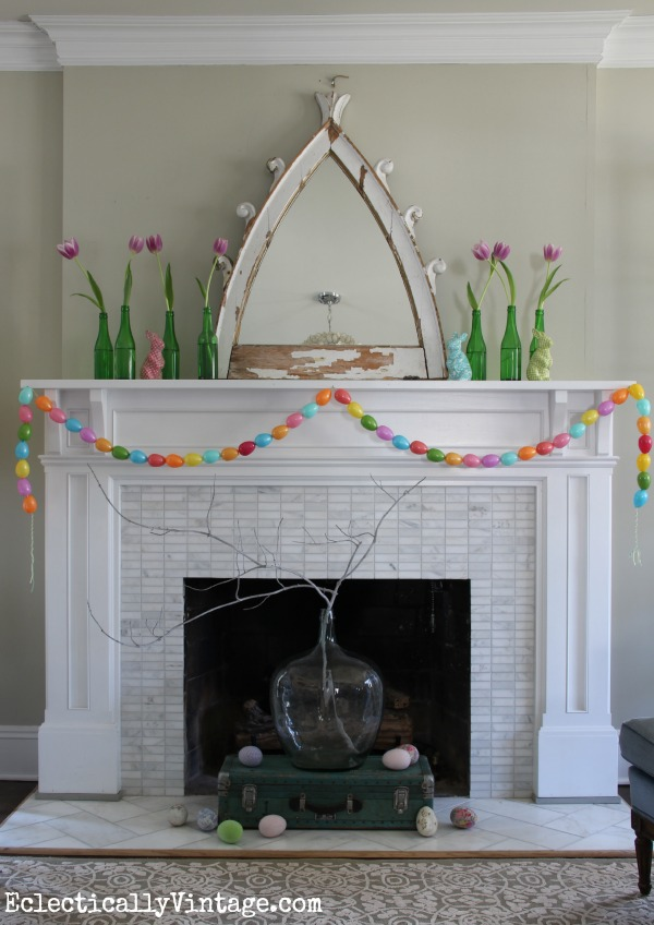 Spring Mantel Decorating Ideas - this is stunning!  See how to make the garland kellyelko.com
