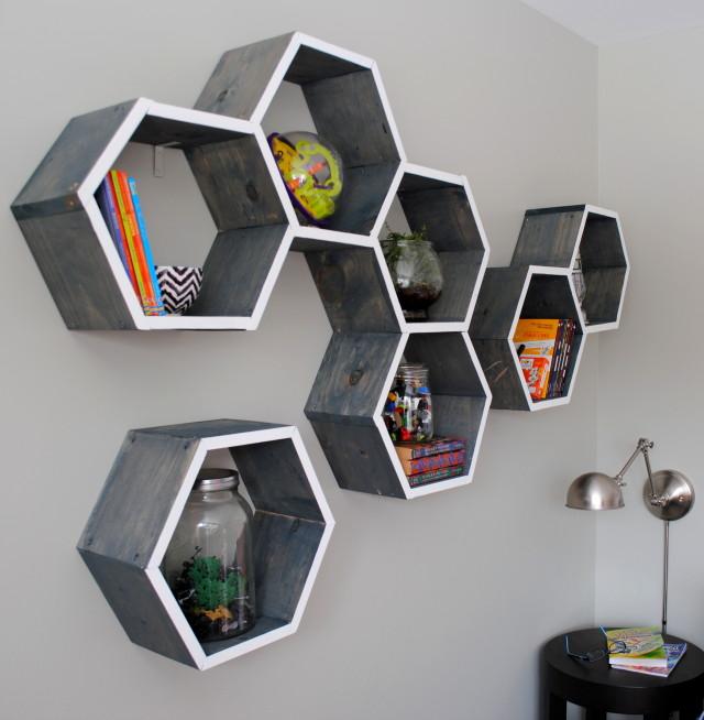 Make honeycomb shelves kellyelko.com