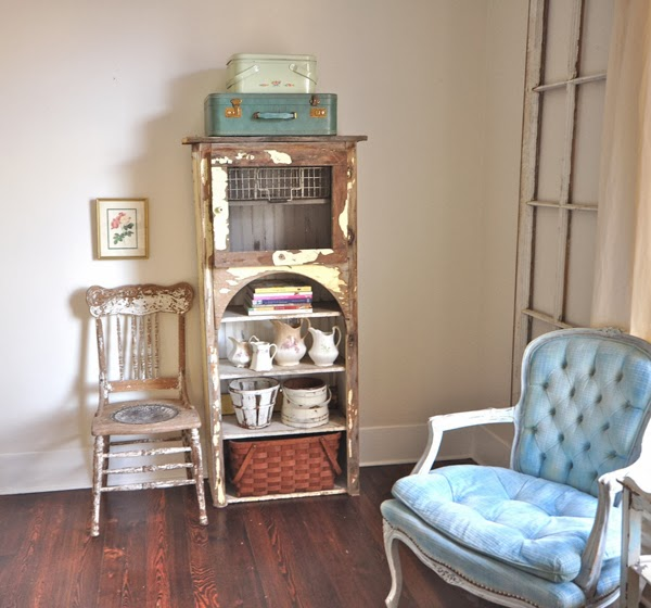 Vintage blue chair and chippy cabinet eclecticallyvintage.com